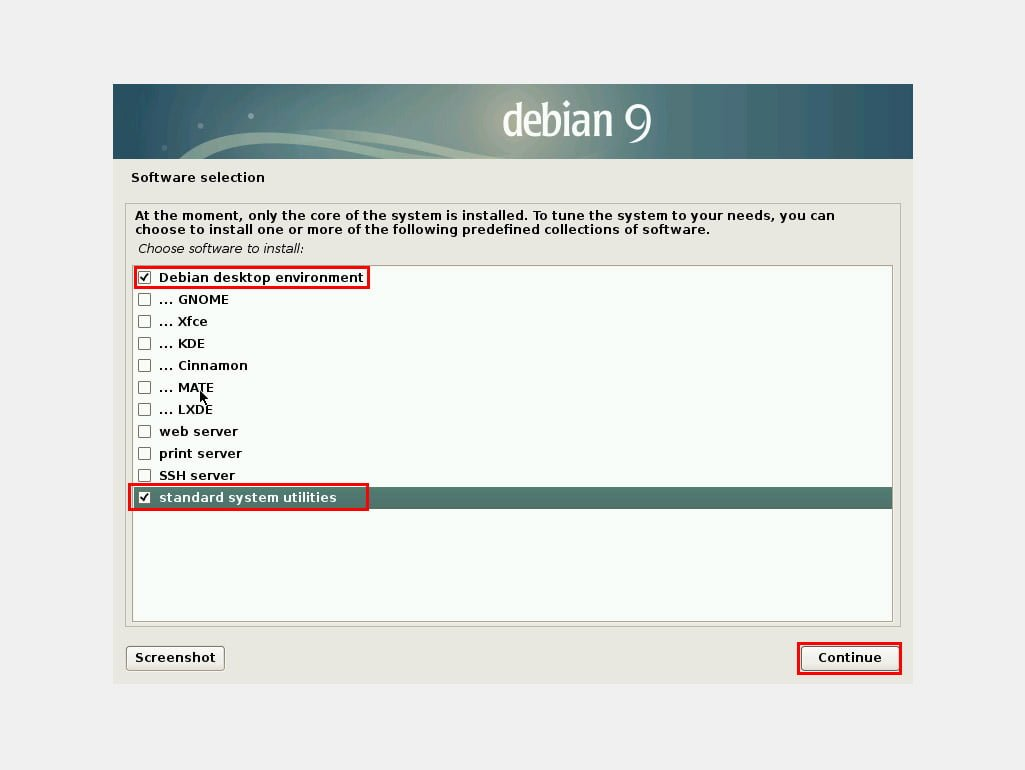 I suggest you select only Debian desktop environment and Standard system utilities and leave all other options unchecked